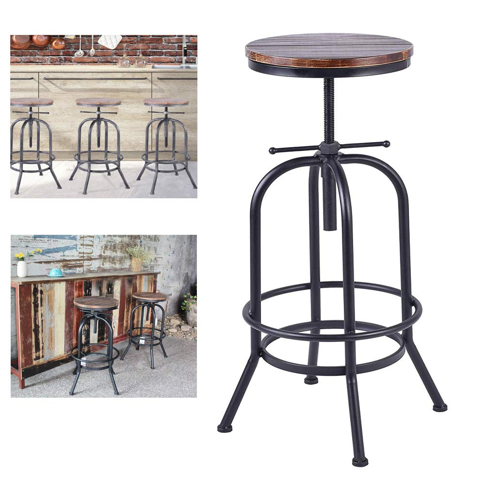 Adjustable Rustic Industrial Bar Stool Swivel Pine Wood Top Metal Frame Bar Chair Footrest Leisure Coffee Chair Bar Chair