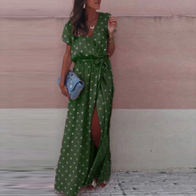 Womens Fashion Boho Polka Dot Maxi Dress Ladies Holiday Beach V Neck Wrap Long Summer Femme Short Sleeve Plus Size
