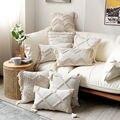Boho Стиль Чехлы 45x4 5 см/30x50 см, накидка для подушки из хлопка и льна с пуговицами с бахромой бежевый Pullow чехол для украшения дома диван-кровать
