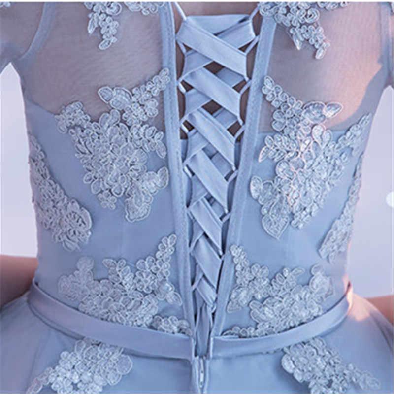 במלאי אפור סירת צוואר כבוי כתף אפליקציות תחרה שמלות נשף גבוהה נמוכה תה אורך פורמליות שמלת LX454 יותר סגנונות