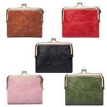 Monedero plegable de cuero PU para mujer, billetera para tarjetas, llavero, Mini bolsa liviana Vintage, bolso cambiador pequeño para uso diario