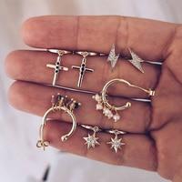 Boho Vintage géométrique boucles d'oreilles goutte pour les femmes 2020 cristal croix soleil foudre artificielle perle boucle d'oreille ensemble femme bijoux cadeau