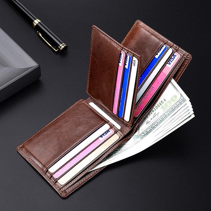 European style short wallets for men Genuine Leather Purse man Anti-theft men's wallet leather Multi card slots Men wallet