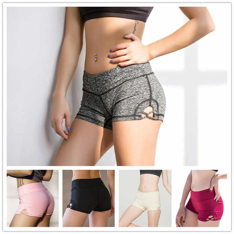 5 kleuren Cross Hollow Panty Elastische Yoga Shorts Sport Shorts voor Vrouwen Running Fitness Leggings Push up Heupen Femme Korte 2019
