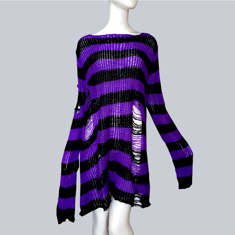 Plus Size Punk Gothic Long Unisex Sweater Dress Cool Hollow Out Hole Broken Jumper Loose Rock Thin Sweter 2020 Women Man Striped