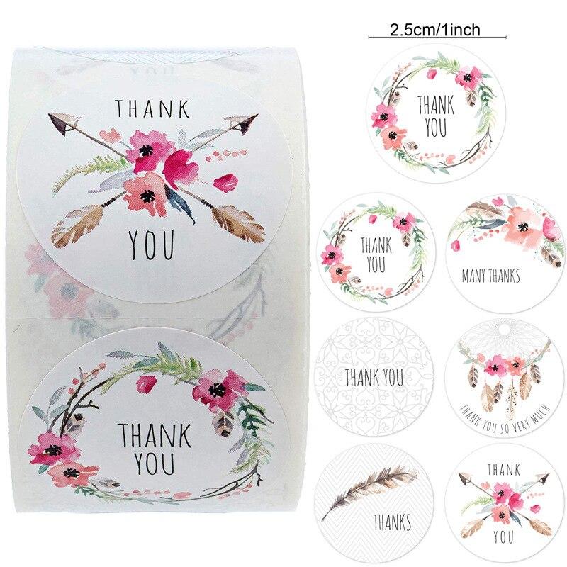 500 штук в рулоне 6 видов конструкций цветочный наклейка «спасибо» этикетки для печати Рождественский подарок украшения Стикеры для упаковк...