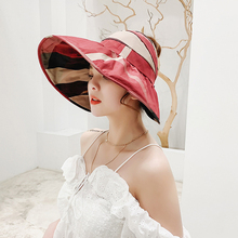 2019 sun hats for women summer visor hat wide Brim panama Anti-UV beach Vacation Travel womens straw