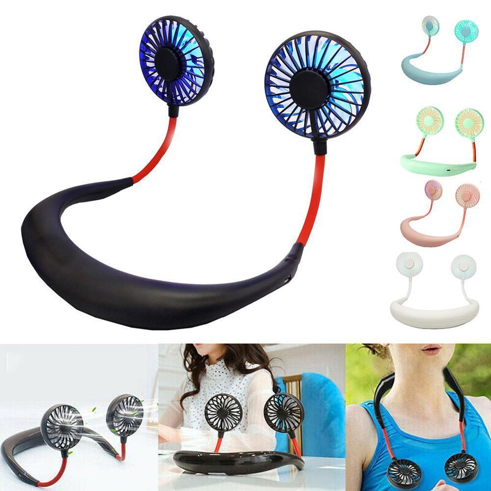 Cool Summer Mini Neck Fan USB Portable Fan Neckband Rechargeable Battery Small Desk Fans Handheld Air Cooler Hanging Sport Fan