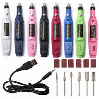 1 Set 5V USB ONE LOW Speed Electric Nail Drill Machine Manicure Machine Nail Art File Nail Drill Bit Tool New Pedicure Apparatus