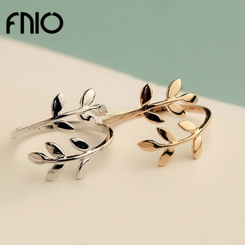 FNIO Fashion simple Olive Tree Branch Leaves Open Ring for Women Girl Wedding Rings Adjustable Knuckle Finger Jewelry Xmas image