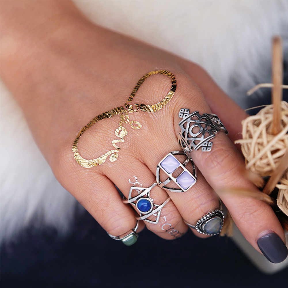 5PCS VINTAGE Women's Boho ดอกไม้คริสตัลทิเบตตุรกีชุดแหวนผู้หญิง Charm แหวนเครื่องประดับของขวัญ #10