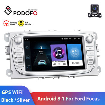 "Podofo 2 din android 8.1 rádio do carro 7 ""hd autoradio multimídia jogador gps wifi mp5 usb rca áudio do carro estéreo para ford focus"