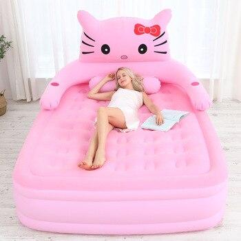 2019 nueva cama inflable casa cama doble de aire colchón de aire engrosada portátil bolsa de dormir al aire libre perezoso estera de sofá