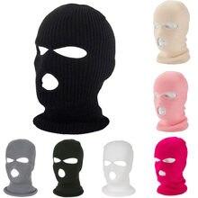 Winter Warm pełna twarz pokrywa motocykl maska narciarska kapelusz 3 otwory kominiarka armia Tactical CS wiatroszczelna dzianina czapka beanie czapki do biegania