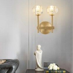 Czysta miedź kinkiet postmodernistyczna zakontraktowana miedź kinkiet K9 crystal ganek balkon schody lustro ścienne kinkiet w Wewnętrzne kinkiety LED od Lampy i oświetlenie na
