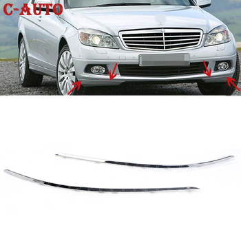 Car Front Bumper Chrome Trim Molding For Mercedes-Benz W204 C300 C350 2008 2009 2010 2011 2048850821 2048850721 Car-styling image