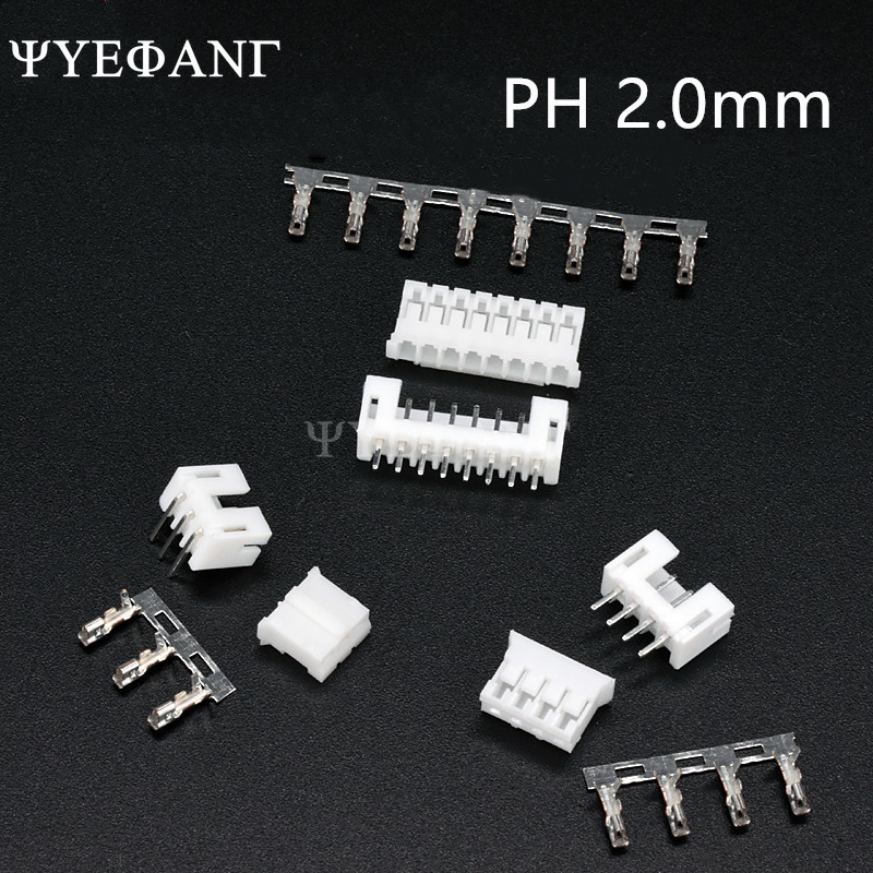 10Sets/Lot PH2.0 PH 2mm Connector Straight Needle Seat+Plug+Terminals 2P 3P 4P 5P 6P 7P 8P 9P 10P Connector Pitch 2.0