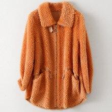 Fashion Wool Sheep Shearer Coat for Women Autumn Winter Fashion New Fur Jacket Casual Medium Length Orange Loose Outwear