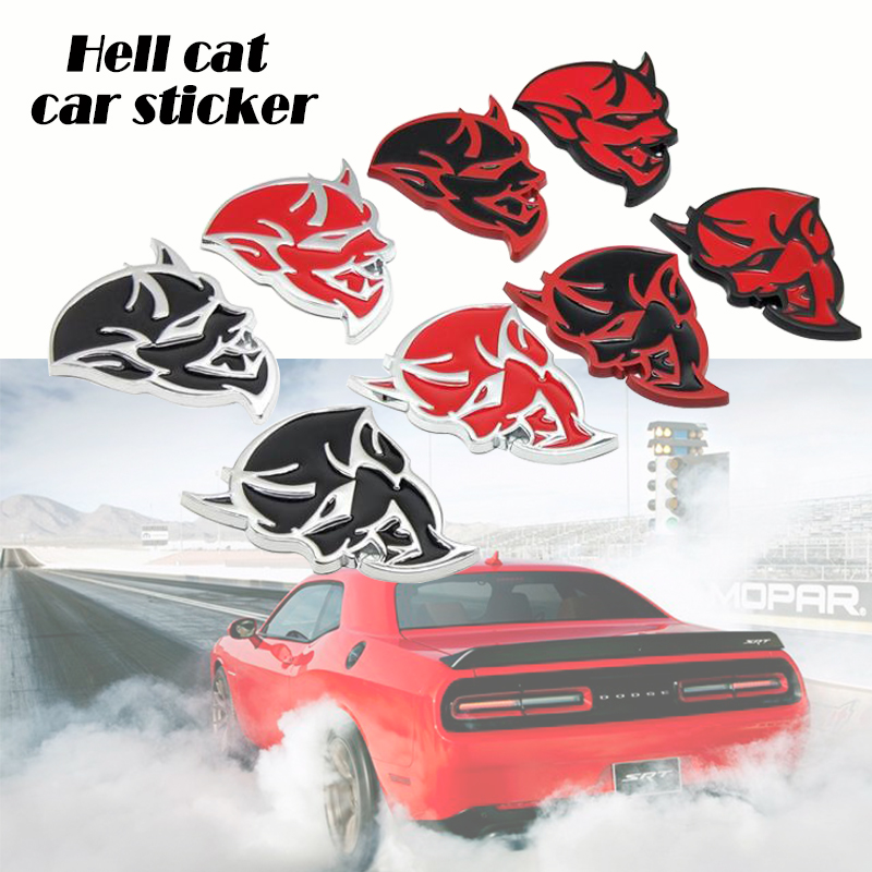 Chrome Metal Car Grille SRT Demon White Badge Emblem Accessories For Dodge Motor