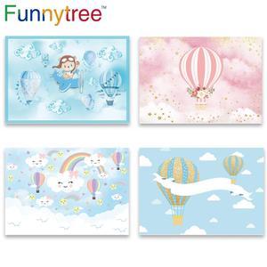 Image 1 - Funnytree熱気球背景写真撮影飛行機クマ冒険1st誕生の背景ベビーシャワー少年パーティーの装飾ビニール