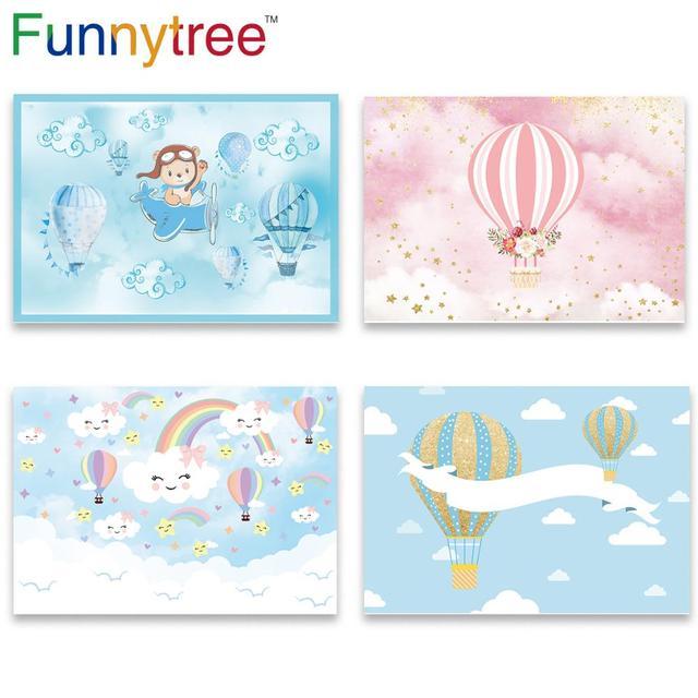Funnytree Fotografie Vliegtuig Hot Air Ballon Beer Adventure 1st Verjaardag Foto Achtergrond Baby Shower Jongen Party Photozone Deco