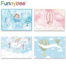 Funnytree balão de ar quente pano de fundo fotografia avião urso aventura 1st aniversário fundo do chuveiro do bebê menino festa decoração vinil