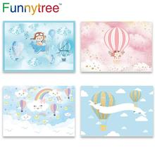 Funnytree photography airplane hot air balloon bear adventure 1st birthday photo background baby shower boy party photozone Deco