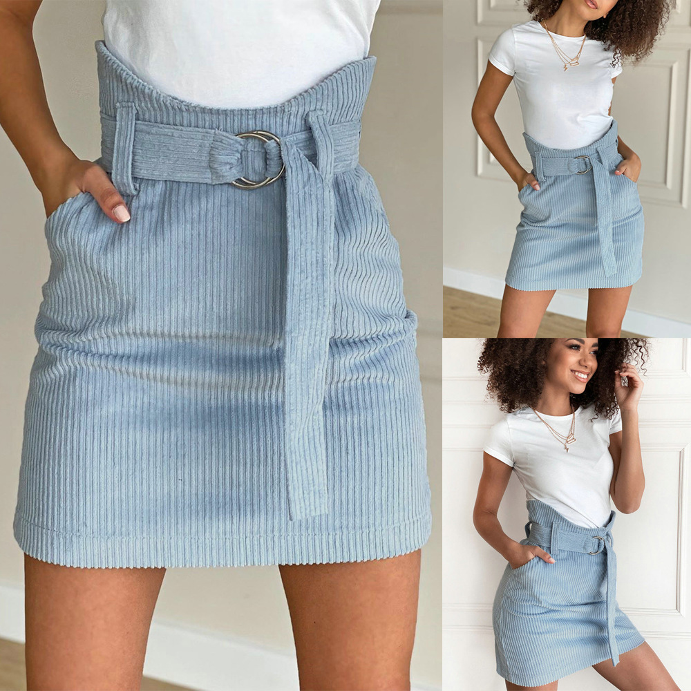 Fashion High Waist Solid Color Skirts Women Casual Rib Knit Slim Wrap Hip Skirts With Belt Ladies Patchwork Pockets Short Skirts