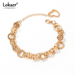 Lokaer Fashion Stainless Steel Love Circle Roman Numerals Charm Bracelets Bohemia Link & Chain Bracelet For Women Girls B17094