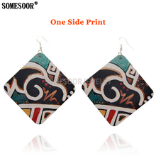 Drop-Earrings Fabrics Wooden Designer Women SOMESOOR for Gifts One-Sides Square Art-Pattern