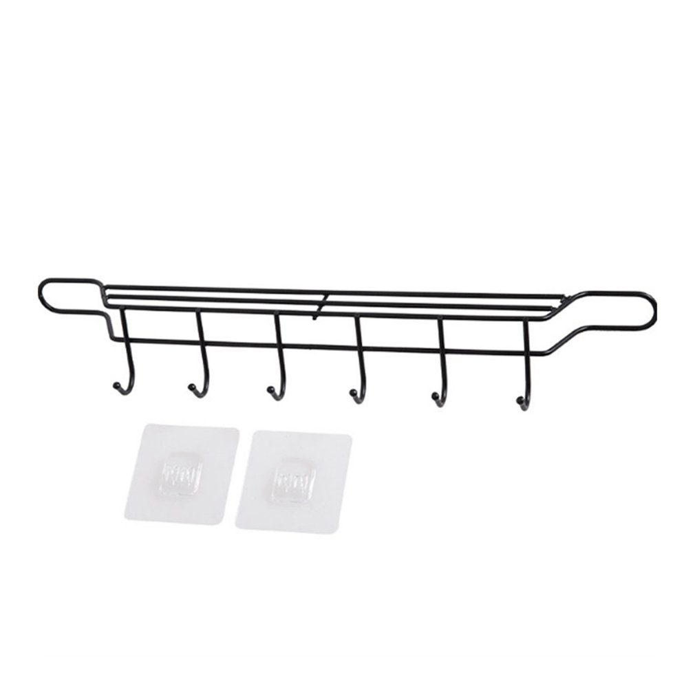 Home Free Punch Wrought Iron Knife Holder No Trace Paste Kitchen Rack Multi-function Wall Hanging Knife Spoon Spatula Rack