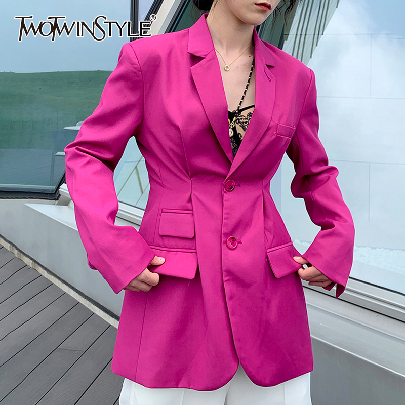 TWOTWINSTYLE Elegant Asymmetrical Blazers For Female Notched Long Sleeve Tunic Ruched Women's Suits 2019 Fashion Clothing Tide