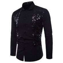 Men's Shirt Ball-Dress Long-Sleeved Luxury Nightclub Shiny Disco Stage Sequined Dance