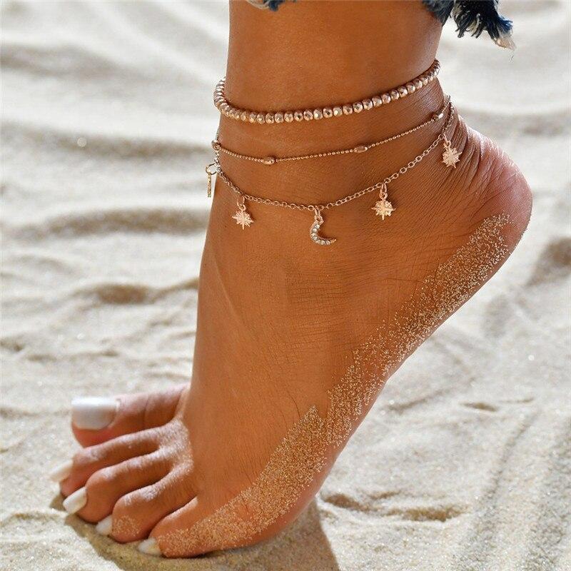 Modyle Bohemian Crystal Beads Anklet For Women Moon Pendant Anklet Bracelet on the Leg Strap Girls Summer Foot Jewelry