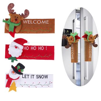 1 sztuk kuchnia drzwi lodówki uchwyt gałka tkaniny obejmuje świąteczne dekoracje tanie i dobre opinie CN (pochodzenie) Włosy syntetyczne Door Knob Covers PRINTED