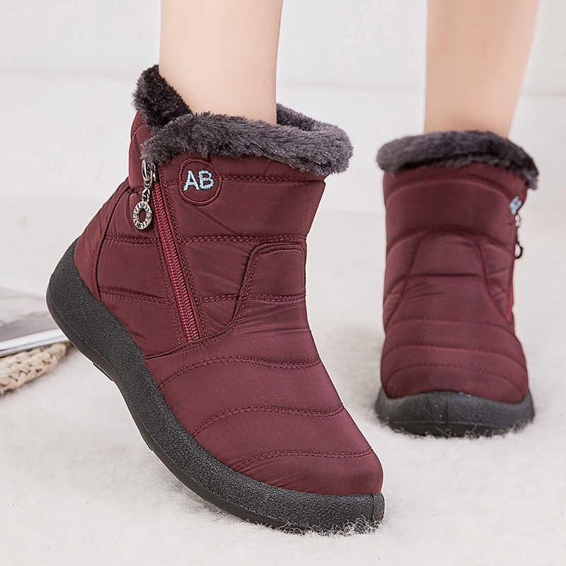 Kadın botları 2019 kış botları kapitone ayak bileği Botas Mujer sıcak su geçirmez kar botları kış ayakkabı kadın Botines artı boyutu 43