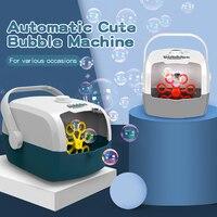 Máquina de burbujas automática, soplador de burbujas portátil para niños, divertidas para niños burbujas de jabón, juguetes al aire libre, regalos