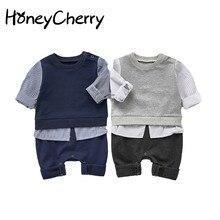 Boy Romper Suit Winter Clothes Baby-Boy Autumn Stitching Striped One-Piece Handsome