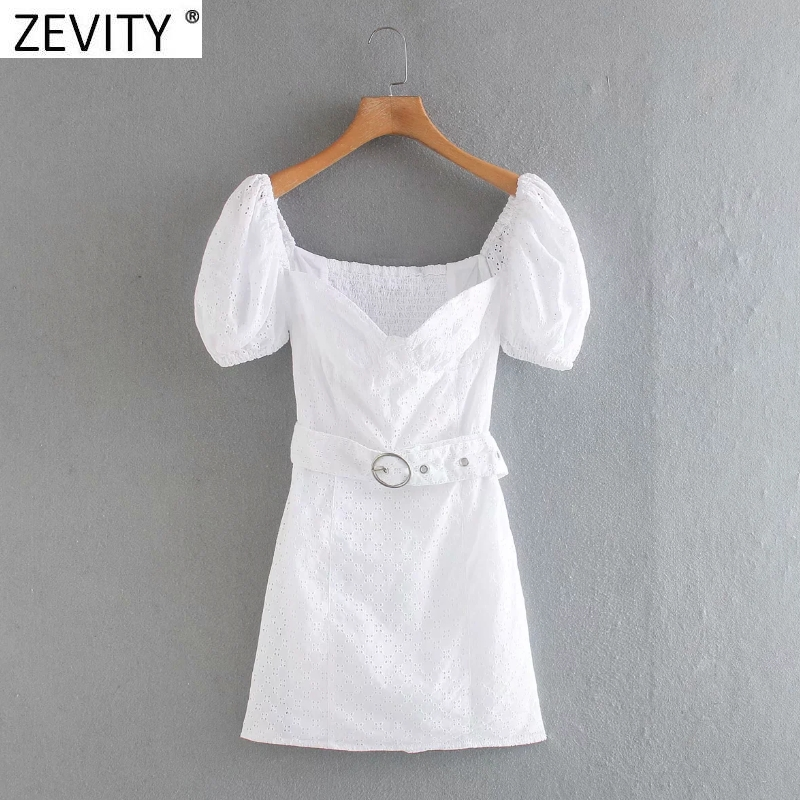 Zevity women sexy hollow out embroidery solid sashes casual slim mini dress ladies puff sleeve chic back elastic dresses DS4178
