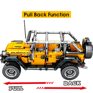 Image 3 - MMloveBB Creator Mechanical Pull Back Jeeped 오프로드 차량 모델 빌딩 블록 ing City Technic 자동차 벽돌 장난감 소년 용