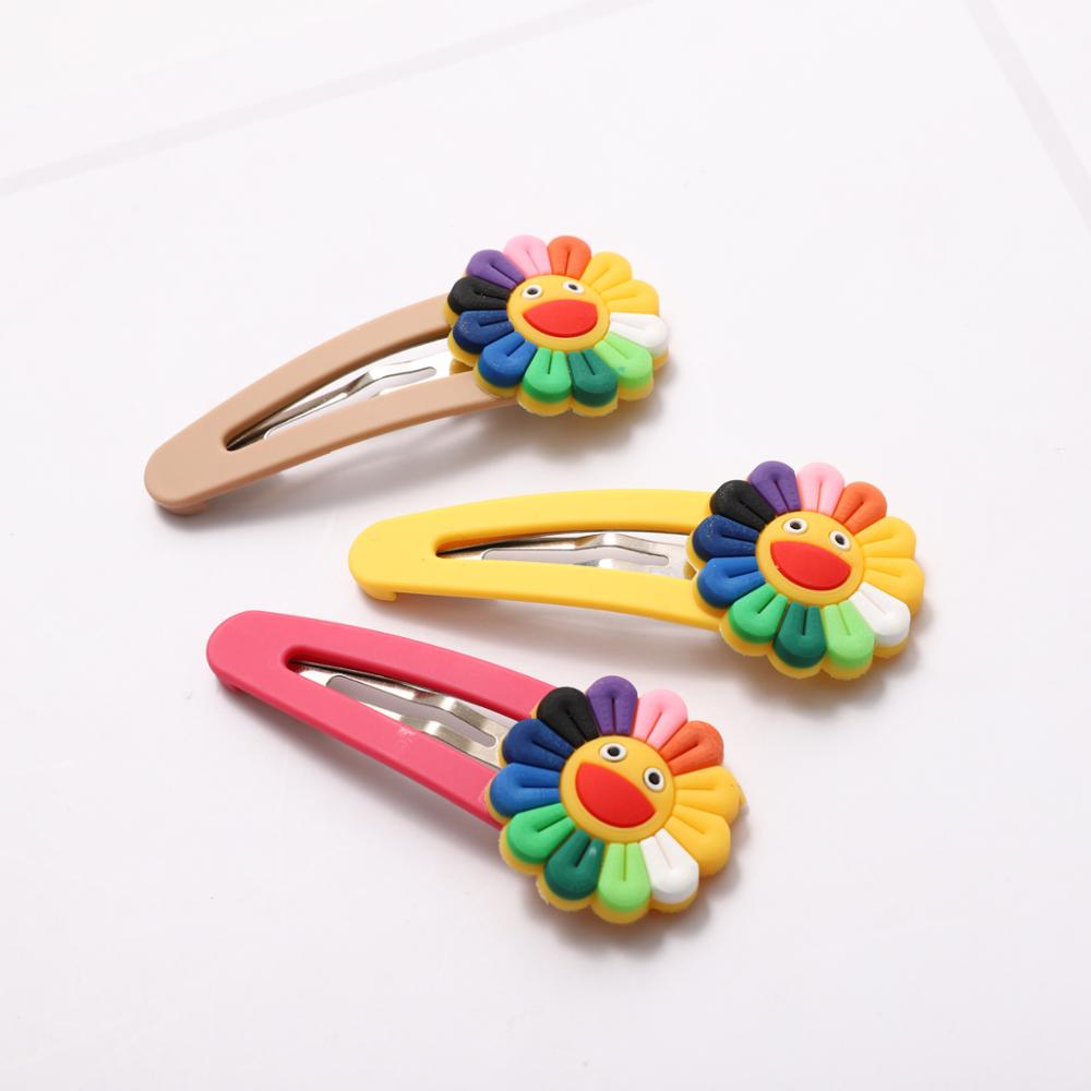 Cute Smile Hair Clips Children Sun Flower Girls Scunchies Lovely Hair Accessories Barrettes For Hair Style Tool