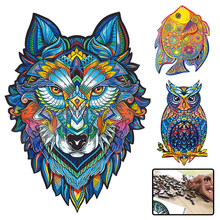 Jigsaw Puzzle Games Wood Toys Animals Difficulty Fox Cat Lion Wolf Each Piece Is Cartoon For Adults Kids