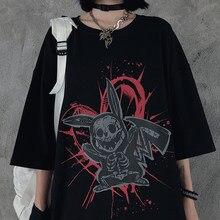 Camisa feminina dos desenhos animados do vintage imprimir manga curta topos streetwear harajuku punk verão solto o pescoço dropshipping roupas de tamanho grande