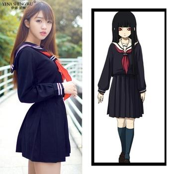 Japońska Korea szkoła JK jednolity dla dziewczynek jesień z długim rękawem Student marynarz mundury Anime piekło dziewczyna Cosplay kostiumy z krawatem tanie i dobre opinie YI NA SHENG WU CN (pochodzenie) Poliester WOMEN Zestawy YLEB35452 Suknem Middle School Uniforms Sailor S M L XL XXL