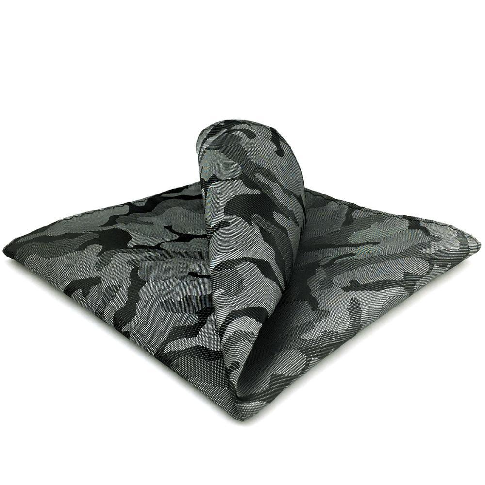 EH30 Dark Grey Geometric Silk Pocket Square Handkerchief Classic Large 12.6
