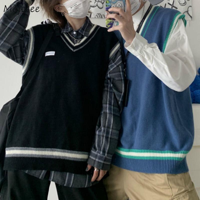 Sweater Vest Men V-neck Shrug Patchwork Knitted Couples Ins Plus Size 3XL Oversize Harajuku Vests Ins Chic Korean Style Leisure
