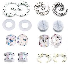 1Pair/lot Acrylic Ear Spiral Taper Plugs and Tunnels Stretcher Expander Stretching Plug Snail Screw Piercing Body Jewelry