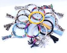 New Fashion Multiful Tassel Keychain Enamel PU Leather O Key Chain Monogram Circle Wristlet Keychain  For Women Car keychain