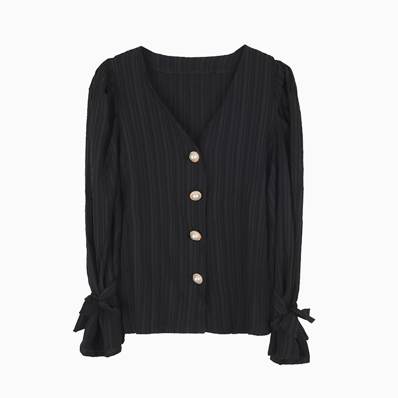 Hb3dc512b337e4d61b0e0776be696b95dh - Spring / Autumn Korean Long Sleeves Pearl Buttons Solid Blouse