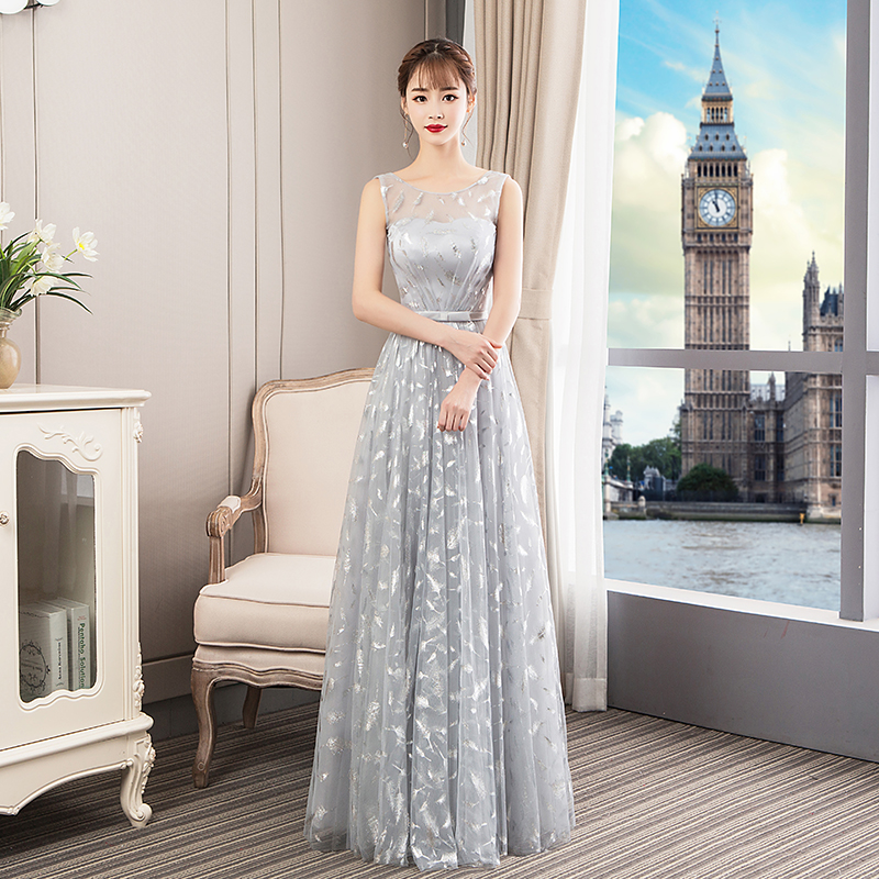 Sexy Backless Prom Party Gowns Mesh Bridesmaid Wedding Dress GRAY Elegant Asian Women Floor Length Evening Dresses Vestidos